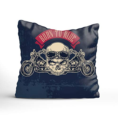 FunnyLife Motorcycle Side View and Skull Throw Pillow Case Square Decorative Cushion Cover (Chicago Seat Sox White Cushion)