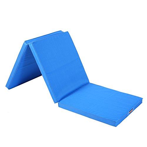 Tapis de gymnastique weichbode Tapis pliable trois sections Yoga Tapis de fitness Mousse 180* 60* 5cm Rouge et Bleu