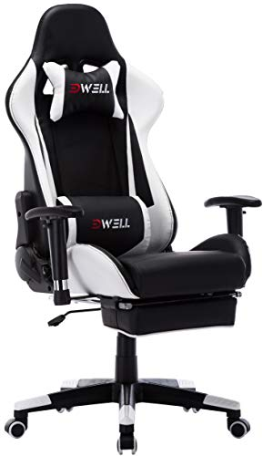 Computer Gaming Chair, Height Adjustable Swivel PC Chair with Retractable Footrest Headrest and Lumbar Massager Cushion Support Leather Reclining Executive Office Chair (Black&White) EDWELL