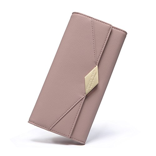 Women Wallet Soft Leather Designer Trifold Multi Card Organizer Lady Clutch Pink