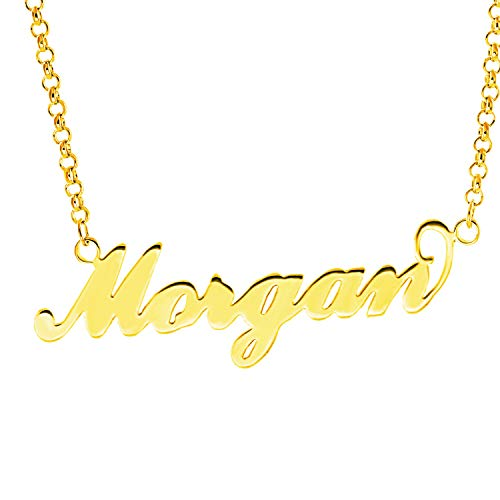 - Personalized English Name Necklace Pendant Yellow Gold Plated Over Brass, Gift To Her (Morgan)