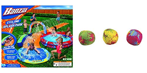 BANZAI Cyclone Splash Park Inflatable with Sprinkling Slide and Water Aqua Pool Bundle with GO Play Set of 3 Water Balls