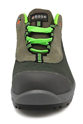 """Base S1P Src Seguridad zapato de trabajo (–sin metal be de Shiny """" negro / verde"""
