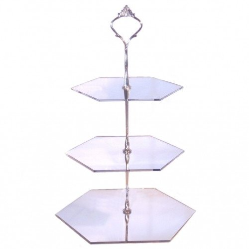 3 Tier Silver Mirror Acrylic Hexagon Cake Stand 20cm 25cm 30cm Overall height 32cm
