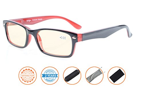 Reduce Eyestrain,Anti Blue Rays,UV Protection Computer Reading Glasses(Black-Red,Amber Tinted Lenses) - Best Blue Computer Blocking Glasses