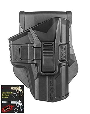 FAB Defense G-9R Retention SCORPUS® Pistol Holster Glock 17,18,19,22,23,25,31,32, 9mm Level 2 Paddle&Belt In Black / Tan / Green Color Right Hand + Laser & Flashlight Gun Shaped Key Chain