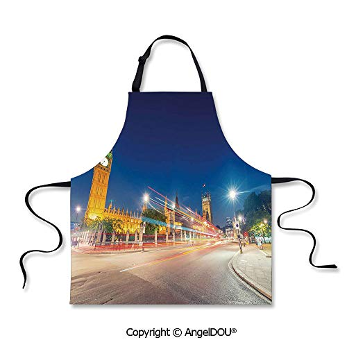 SCOXIXI Printed Unique Cool Kitchen Apron Night View of Big Ben and Westminster Palace Parliament Square London England Waterproof Aprons for Restaurant BBQ Grill. (Best Barbecue Restaurants London)