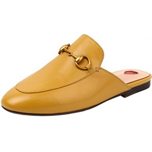 ENMARER Womens Loafers Shoes with Buckle Soft Retro Slippers Flats Round Toe