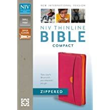 NIV, Thinline Zippered Collection Bible, Compact, Imitation Leather, Pink/Orange, Red Letter Edition