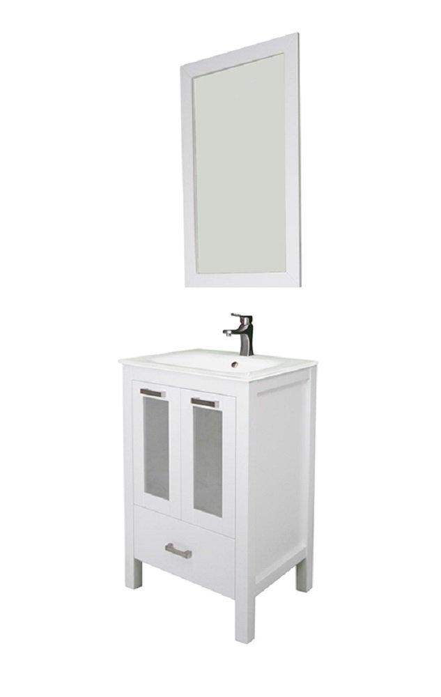 "Albani 24"", white, glass doors, glass sink by Priele"