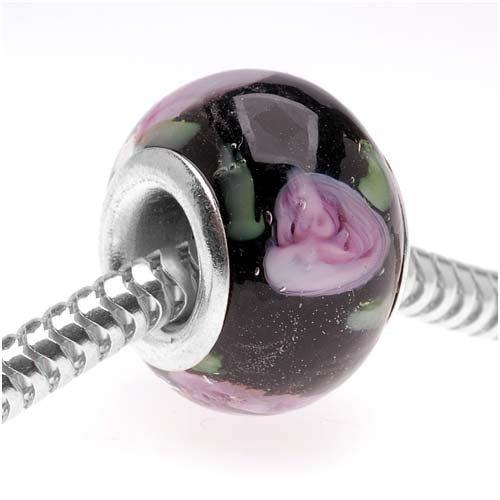 Beadaholique 14mm Round Murano Style Glass Lamp work Bead, Fits Pandora, Black with Rose (Hand Blown Glass Round Beads)