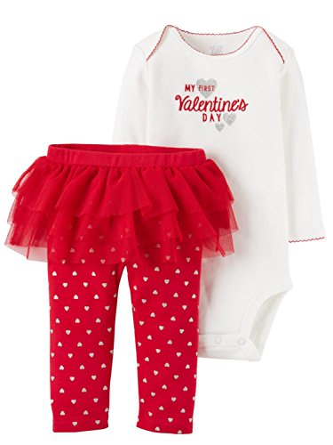 Just One You by Carter's Baby Girls First Valentines Day Bodysuit with Tutu Pants Set (3 Months, Red and White - My First Valentine's Day)