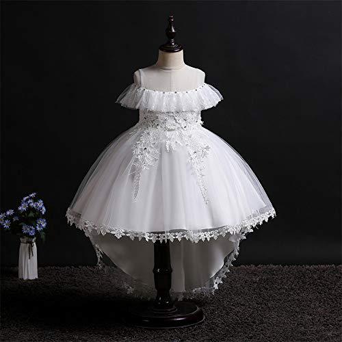 QZ Girls Flower Dress Children's Embroidered Round Neck Tuxedo Dress Toddler Girl Halloween Costumes Teenage Prom Dresses 3-11Y,White,130CM ()