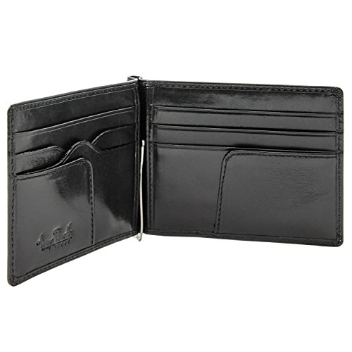 Tony Perotti Italian Leather Primo Slim Money Clip Wallet in Black