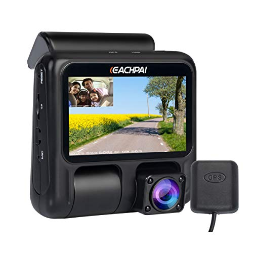 Eachpai Dual Dash Cam X100 1080p 1080p Dash Cameras Front And Inside 3 Dashboard Camera With Gps Ir Night Vision Wdr Motion Detector Loop Recording For Uber Lyft Truck Taxi Free 32gb Card