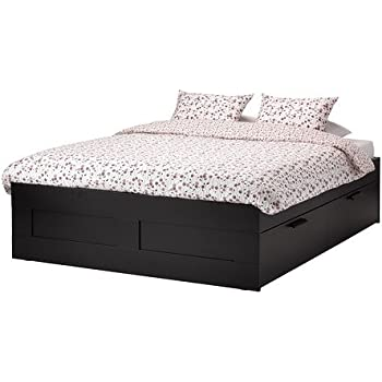 Amazon Com Ikea Queen Size Bed Frame With Storage Black