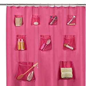 Hot Pink Fabric Shower Curtain Set 12 Shower Curtain Rings And Mesh Storage Pockets