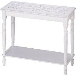 Distressed Look Carved-Top Table