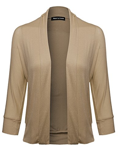 (Made by Emma Classic Stylish Comfortable Open Front Draped Cardigan Taupe M)