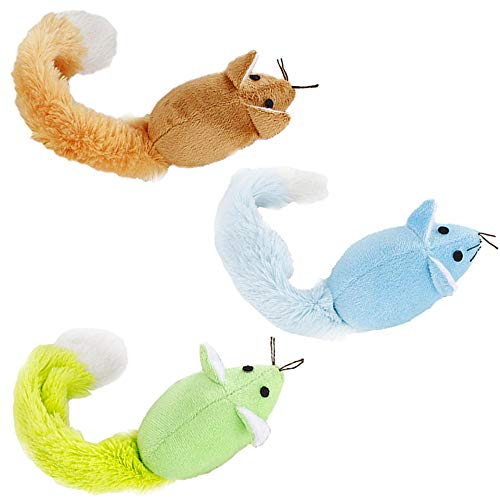 - ActiveCraft Mouse Cat Toy Pack: Long Tail Furry Chew Mice 100% Natural Materials Organic Catnip (3 Pack, Mixed)