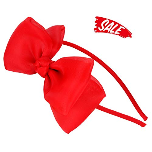 HoveBeaty Bow Hairband Soft Elastic Lace Bowknot Headband for Women and Girls, Perfect Hair Accessories for Party and Cosplay (Red) -