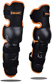 Wonzone 1 Pair Motorcycle Knee Pads Protector Antislip Knee Cap Calf Shin Guards Long Leg Sleeve Adjustable Ar