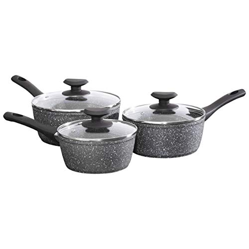 Daewoo CKW1850GE Prochef 3PC Forged Aluminium Sauce Pan Set | with Lid | Non-Stick | Soft Grip Long Handle | Marble Coating | Pressed Induction Base | 16cm | 18cm | 20cm-Black and White