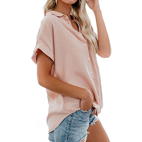 Summer Womens Button Down Shirts Short Sleeve Shirts V-Neck Collared Blouse Tops with Pockets Pink ()
