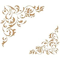 TODO-STENCIL Deco Cenefa 034 Floral Esquina. Medidas aproximadas: