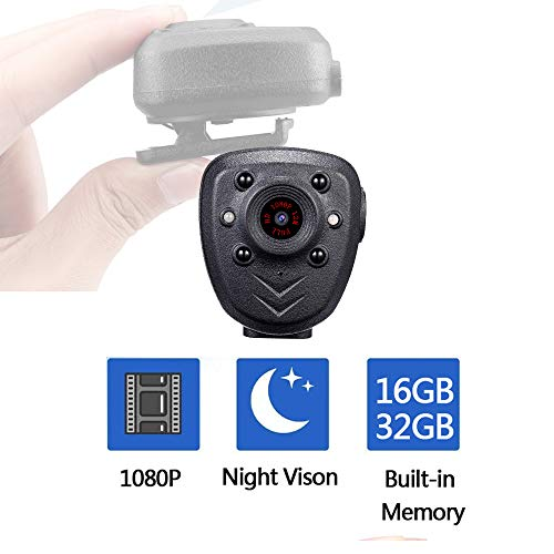 Body Cop Hidden Spy Camera Built-in 32GB Memory Card 1080P Wearable Portable Sport Cam with Night Vision Pocket Clip IR Dash Cam for Home/Office/Law Enforcement/Security Guard/Interview/Baby Monitor
