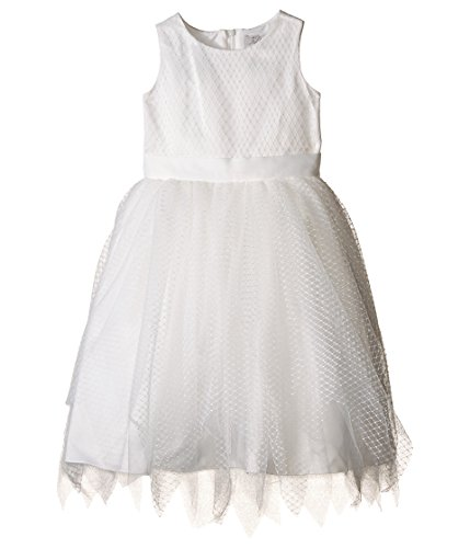 Us Angels Little Girl's Sleeveless Dot Netting Tulle Dress Dress, ivory, 6 by US Angels