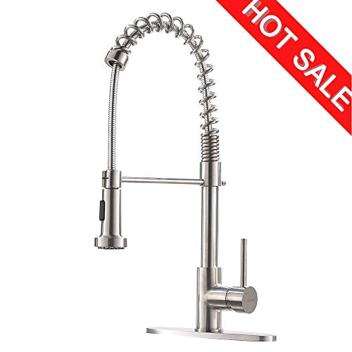 (Commercial High Arc Single Handle Stainless Steel Brushed Nickel Kitchen Faucet with Dual Function Pull Down Spray Head, Pull Out Kitchen Sink Faucets with Deck Plate )