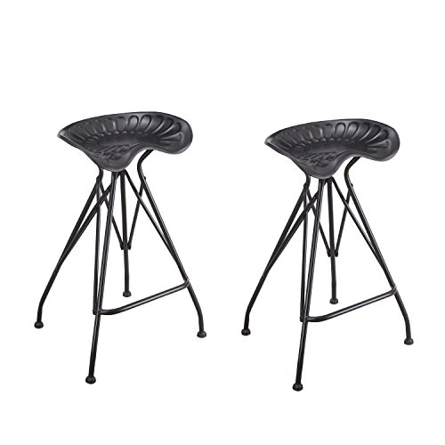 Adeco Antique Metal Stool with Tractor-Inspired Seat - Ir...