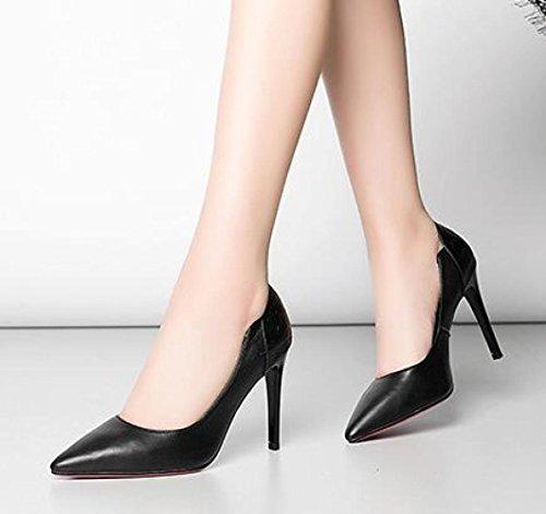 Dress Party Talons Noir Chaussures Chaussures Pointu à Black Travail Pompes Blanc De Hauts Toe Bureau Cuir Court xg7qPT6