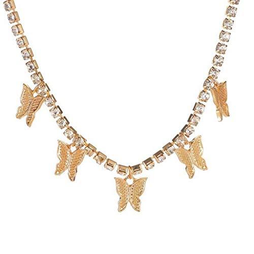 Vintage Schmetterling Anhänger Choker Halskette Kristall Kette Halsketten Bling Schmetterling Quaste Hip Hop Schmuck Schlüsselbein Choker Geschenk für Frauen Mädchen(Gold)