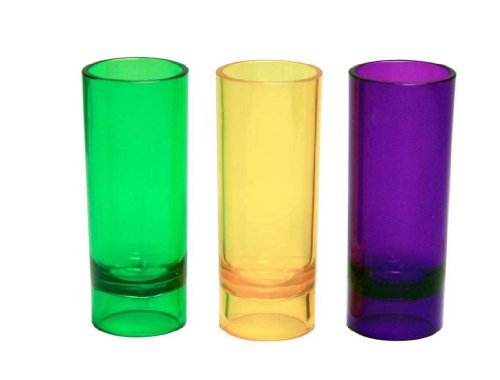 Party Essentials 10-Count Hard Plastic 2-Ounce Shot/Shooter Glasses, Mardi Gras (Mardi Gras Party Shot Glass)