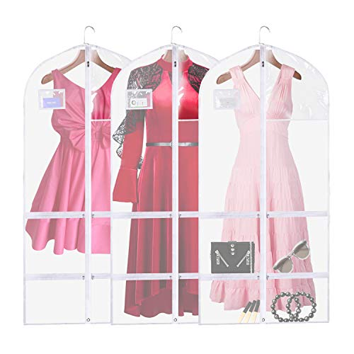 """QEES 3 PCS Clear Dance Garment Bags with Pockets for Costume, Full Zipper Dream Duffel Costume Bags, Waterproof Suit Travel Bags for Dance Costumes with 4 Large Pockets 23.6""""×50"""""""
