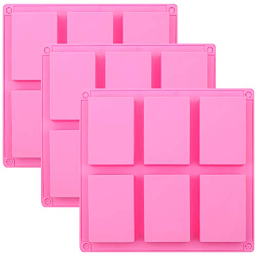 Pendolr Silicone Soap Molds Set of 3, 6 Cavity Rectangle Homemade Craft Soap Mold, Pink Cake Mold for Cupcake, Muffin, Coffee Cake, Pudding, Ice Cube Tray
