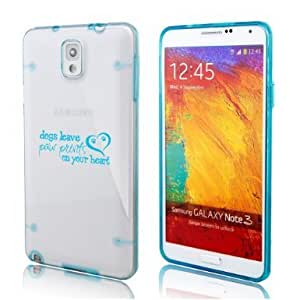 Samsung Galaxy Note 4 Ultra Thin Transparent Clear Hard TPU Case Cover Dogs Leave Paw Prints On Your Heart (Light Blue)