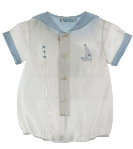 Feltman Brothers Baby Boys White Sailor Bubble Outfit with Blue Collar (Sailor Suit Bubble)