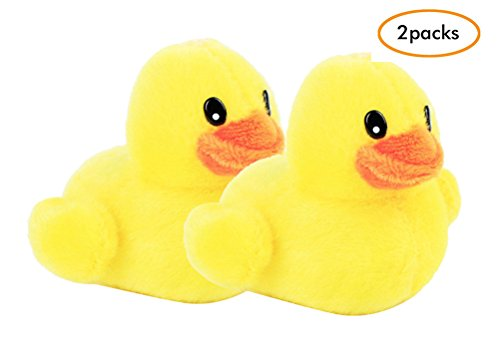 Squeak Dog Toy Yellow Ducks 2Pcs/Pack for Small/Medium Dogs Playing Teeth Cleaning