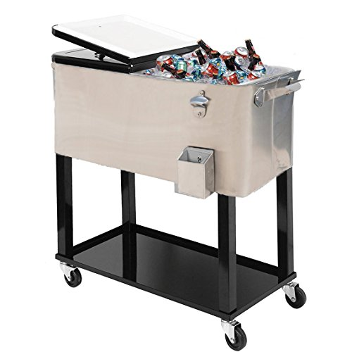 General 80-quart Portable Rolling Ice Chest Cooler Cart Patio Party Drink Ice (Stainless Steel) (Steel Cooler Rolling Stainless)