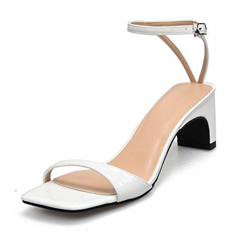 Mujer Sandalias Bajo Medio Tacón Bloquear Mirar furtivamente Dedo del pie Señoras Tobillo Correa Zapatos Fiesta Strappy Tamaño 3-11 white