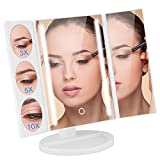 Makeup Vanity Mirror with Lights, Oversized Trifold 24 LED Lighted Cosmetic Mirror 10X/5X/3X Magnification, Sensor Brightness Control, 180° Rotation, Dual Power Supply