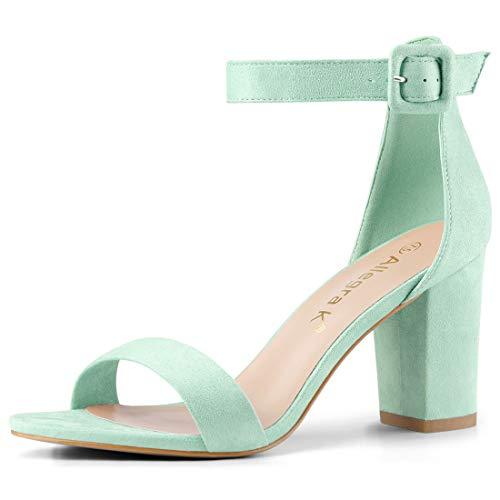 (Allegra K Women's Chunky High Heel Ankle Strap Sandals (Size US 8.5) Light Green)