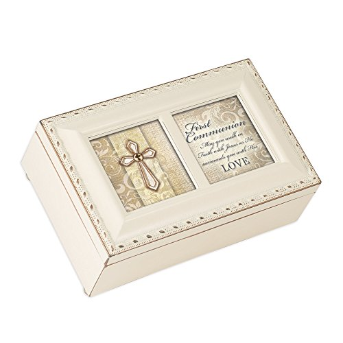Cottage Garden First Communion Walk in Faith Matte Ivory Jewelry Music Box Plays Ave Maria
