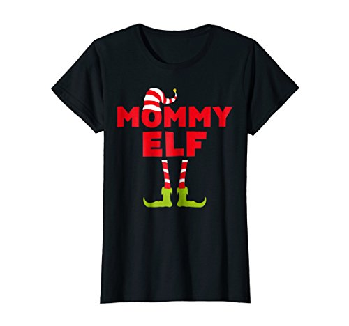 Womens Mommy Elf T-Shirt Funny Matching Christmas Costume Shirt Small Black -
