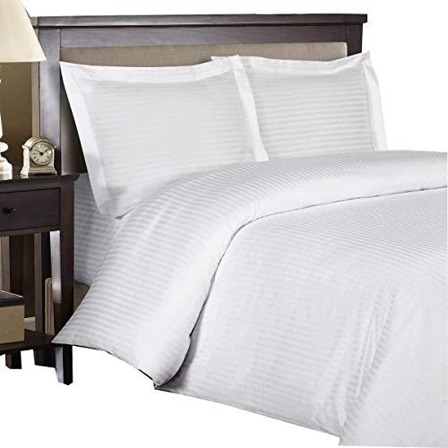 Royal Hotel Stripe White 3pc King/California-King Comforter Cover (Duvet Cover Set) 100-Percent Cotton, 500-Thread-Count, Sateen Striped (King White Duvet)