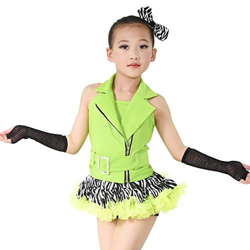MiDee Jazz Dance Costume Hip Hop Outfits For Girls 6 Pieces Halter Zebra Skirt (LC, Green/Zebra) - Disco Dance Solo Costumes