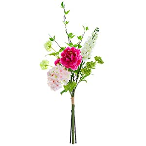 "34"" Peony, Hydrangea & Snowball Silk Flower Bouquet -Beauty/Pink (Pack of 4) 94"